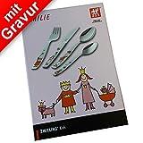 Prinzessin Emilie Kinderbesteck mit Gravur 4tlg. ** Hersteller: ZWILLING J.A. Henckels ** inkl. Namensgravur auf der Rückseite + gratis Glückwunschkarte ** Taufgeschenke für Mädchen