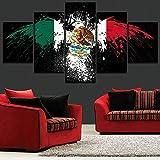 HOMOPK 5 Leinwandbild Bilder Abstrakte Flagge Mexiko 5 Teilig Wandbild hintergrundwand malerei tapete öl Druck Poster küche dekor Plakat Geschenk A,Rahmen.