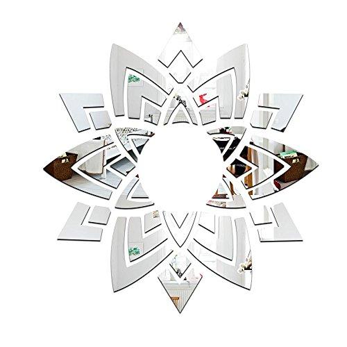 Wandaufkleber, 1 Satz (12 st¨¹ck) Blumen dekorative spiegel wandaufkleber f¨¹r wohnzimmer Kronleuchter, 119 * 125,5 cm, silver -