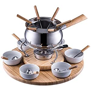 style 39 n cook swiss fondue edelstahl fondue set camilla 28 teilig k che haushalt. Black Bedroom Furniture Sets. Home Design Ideas