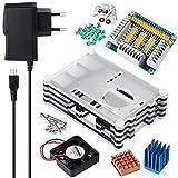 5 en 1 Kits professionnels pour Raspberry Pi 3 et Raspberry Pi 2 modèle B, Étui 9 couches + + 5V 2.5A Micro-port Alimentation + Chauffe-eau en cuivre en aluminium + Tranche de ventilateur