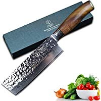 YARENH Damascus Nakiri Usuba Knives 6.5 intch with galbergia wooden handle professional Kitchen Knives For Cut meat Vegetable