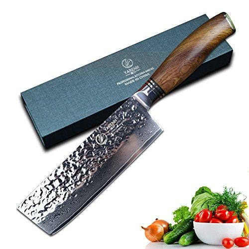 High Küchenmesser Carbon (YARENH Nakiri Damast kochmesser küchenmesser profi messer Klinge 16,5 cm,Japanischem Damaststahl High-Carbon Stahl Kuechenmesser klein,professionelles scharfes Messer)