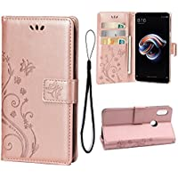 Teebo Wallet Case for Xiaomi Redmi Note 5 Pro, 3 Card Holder Embossed Butterfly Flower PU Leather Magnetic Flip Cover For Xiaomi Redmi Note 5 Pro(Rose Gold)