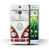 Coque de Stuff4 / Coque pour HTC Butterfly 2 / Titan Rouge Design / Rétro T1 Bus Campeur Collection