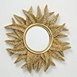 Home Collection - Specchio da Parete con Sole e Foglie, Diametro 38 cm, in Resina Dorata