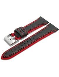 meyhofer Orologio Bracciale Barletta 24mm Nero/Rosso Pelle/Tessuto Rosso cucitura myplklb3003/24mm Rosso/Nero