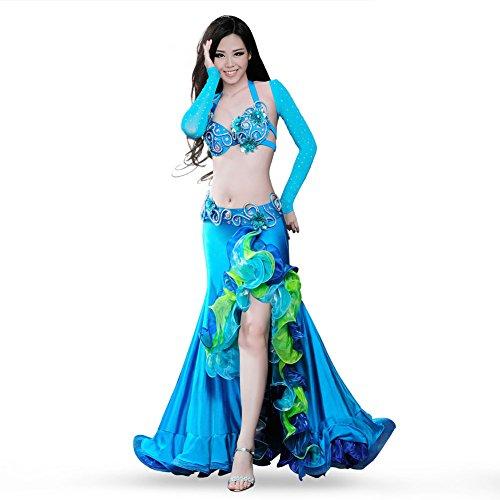 ROYAL SMEELA Bauchtanz Kostüm Kleid Gute Qualität BH Gürtel Rock Top 4 Stück einstellen Bauchtanz Kleidung Flamenco Begeisterung Rote Kleideranzug