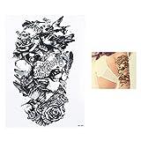 2 Pezzi Adesivo Tatuaggio temporaneo Gufo Nero Ramo Uccello HB089 14,8x21 cm