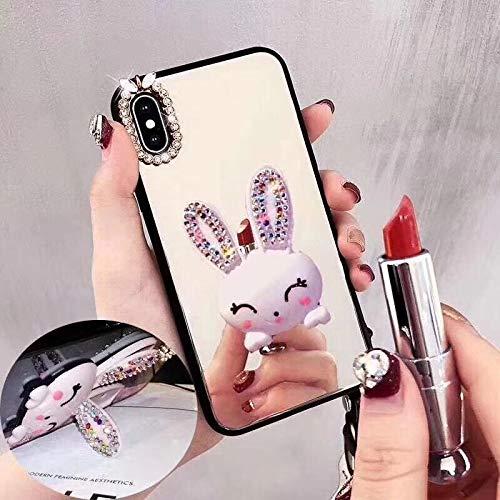 Artfeel Spiegel Hülle für Huawei P20 Pro,Bling Glitzer Diamant Niedlich 3D Kaninchen Ständer Handyhülle,Weich Silikon + Hart Gehärtetes Glas Slim Klar Make Up Spiegel Hülle-Hase Silber