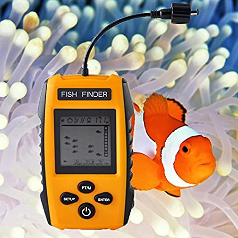 PIMITI Sonar Détecteur de poisson 100M / 328ft Détecteur de poissons avec Câblé Alarme du capteur pour Navigation de plaisance Pêche