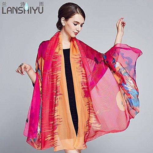 Mme foulard soie Printemps et automne nouveau extrait d'herbes sauvages écharpe châle soie4313Hangzhou silk , une d'orange L'Orange