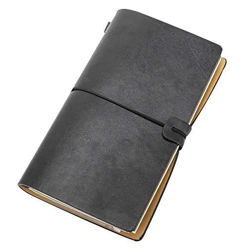 MoKo Nachfüllbar PU Leder Tagebuch, A6 Handgefertigt Notizbuch Reisetagebuch für Damen, Herren und Kinder Perfekt für Schreiben, Geschenk, Reisende mit Dekorationssticker, 7.8
