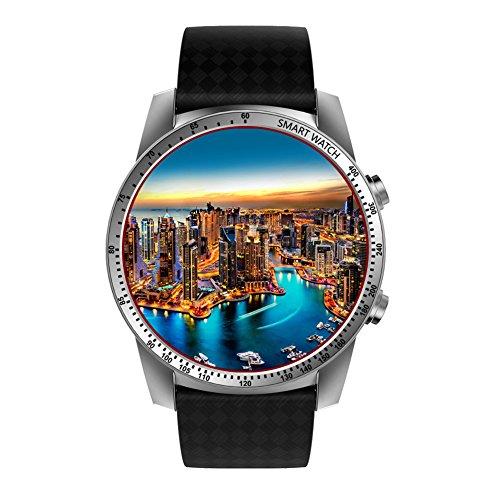 KW99 Smartwatch Android 5.1 3G WIFI Smartwatch Intelligente Uhr Handy mit SIM Karte Slot Bluetooth GPS Anrufbenachrichtigung Schrittzähler Fitness Tracker Kompatibel mit IOS Iphone Andriod (Silber)