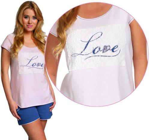 Italian Fashion IF Pigiami Due Pezzi per Donna Love 0227 Rosa