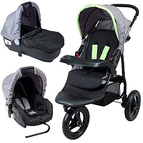Poussette bébé 3 roues combiné 3en1 (poussette, siège auto cosy Groupe 0+, nacelle auto) - Coloris : gris, noir et anis