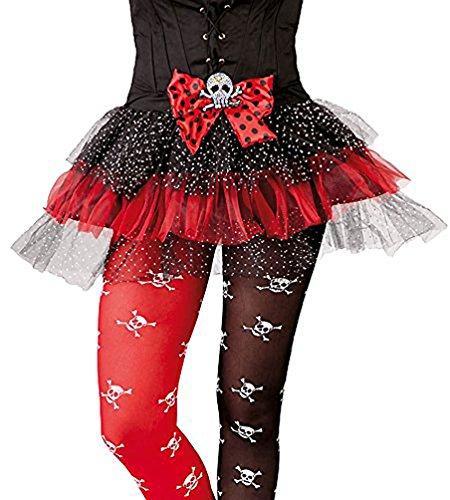 (Karneval-Klamotten' Kostüm Tüllrock Piratenrock Piratenkostüm Piratin Totenkopf Mädchen Karneval Halloween Kinderkostüm One Size)