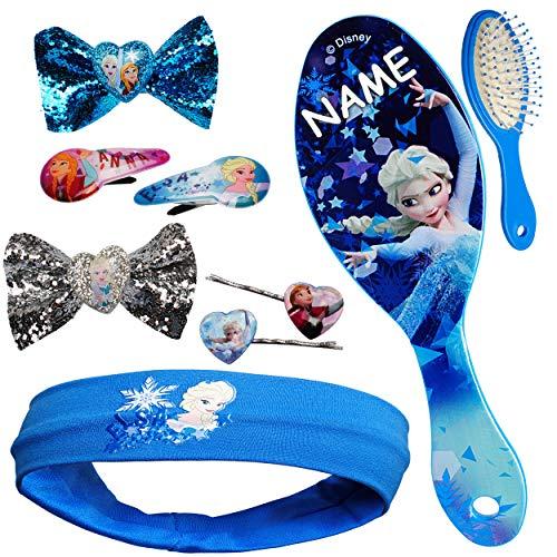 Unbekannt Set _ Haarbürste + Haarschmuck - die Eiskönigin - Frozen - inkl. Name - Kinderschmuck - für Mädchen / Kinder - Schmuck Haarschmuck - Haarband / Stirnband - ()