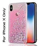 KC Liquid Unique Floating Hearts & Glitter Sparkle Transparent Case Soft Sided Back Cover for iPhone X (Pink Colour, iPhone X Pink Heart glitter)