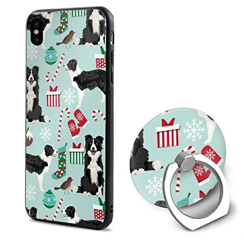 guolinadeou iPhone XR Ring Bracket Case Border Collie Christmas Cute Xmas Holiday s Red and Green s TPU Bumper Protective Case for Apple iPhone XR 6.1 Inch 2018 Release Crystal Lace Design Droid Pro Crystal
