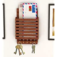 Regalo per Natale o Compleanno Lettera di legno cum portachiavi, Striscia di design con 5 gancio chiave