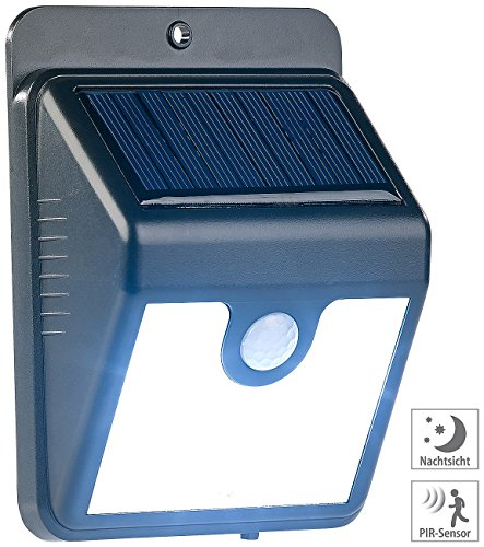 Luminea LED Leuchten: Solar-LED-Wandleuchte mit Bewegungssensor & Nachtlicht-Funktion, 50 lm (Solar-Wand-Leuchte)