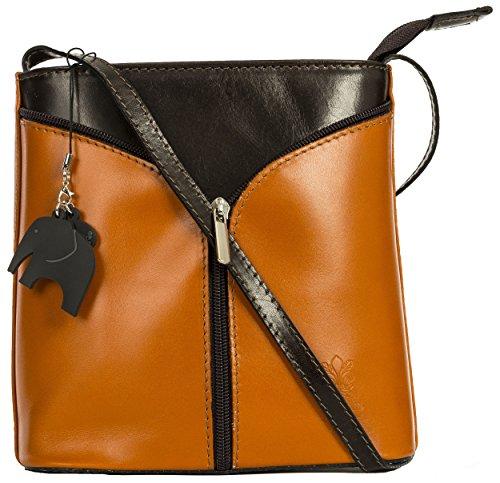 Big Handbag Shop Borsetta piccola a tracolla, vera pelle italiana Tan (Cognac) - Brown Trim