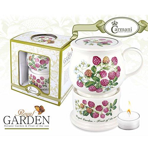 CARMANI - Tasse porcelaine et couvercle + chauffage a la framboise motif 400 ml