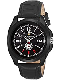 Golden Bell Original Black Dial Black Leather Strap Analog Wrist Watch For Men - GB-1069
