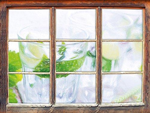 Mojito-Gläser mit Minze Kunst Buntstift Effekt Fenster im 3D-Look, Wand- oder Türaufkleber Format:...