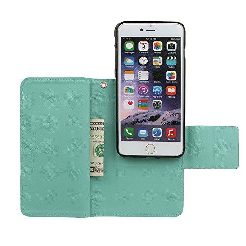 xhorizon FX Prämie Leder Folio Case [Brieftasche] [Magnetisch abnehmbar] Uhrarmband Geldbeutel Flip Vogel Tasche Hülle für 4.7 Zoll iPhone 6 6s mit einer Auto Einfassungs Halter Minze mit 9H ausgeglichenes GlasFilm