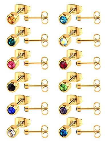 12 Paia Orecchino a Bottone in Acciaio Inossidabile Zirconia Cubico Piercing Orecchino per Uomini e Donne, 12 Colori