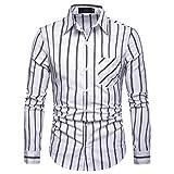IZHH Herren Hemden, Schwarzes Hemd Herrenhemden Langarm Streifen-Malerei Plus Size Hemd Mit Stehkragen Casual Top Bluse Shirts(Weiß,S)