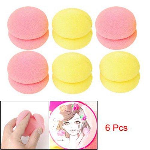 TOOGOO(R) Lockenwickler - 6 Stk. Damen Weicher Schwaemme Haarstyling Lockenwickler (3 gelb & 3 rosa)