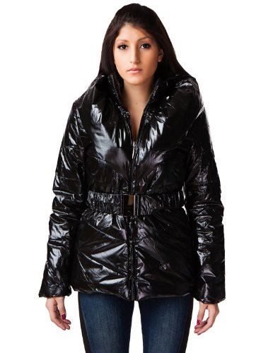24brands - Damen Winter Jacke Winterjacke Mantel Mäntel Jacken Glanzjacke Steppmantel in Glanznylon - 2403, Größe:40;Farbe:Schwarz