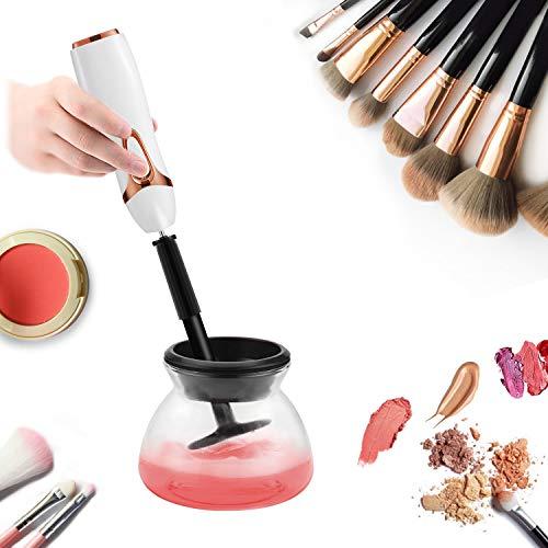 Elektrisch Make-up Pinsel Reiniger und Trockner Set, elektrische Instant Make-up Pinsel Reinigung maschine, 8 Gummi-Halter passend Make-up Pinsel Reinigen (Weiß)