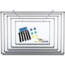 Pizarra magnética con marco de aluminio y estante para rotuladores, en 9tamaños, pintura de seguridad, magnética, función de pinza, con material de montaje y accesorios incluidos (lápices, esponjas) 200x100 cm