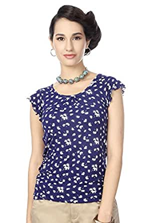 Honey by Pantaloons Women's Flared Top (205000004462692, Blue, X-Large)