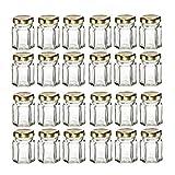 Mydio Lot de 24Bocaux en Verre pour Confiture, Miel, Dragées de Mariage, Dragées de douche, Aliments pour Bébés, Bricolage, Épices, - 45 ml