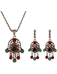 TBOP Set Black Diamond Metal Set Europe And The United States Foreign Trade New Exaggerated Retro Emerald Necklace...