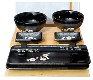Gifts of the Orient Service à sushi pour deux avec bols Fleurs de cerisier sur métal noir brillant
