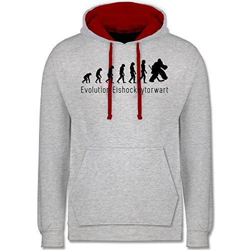 Evolution - Eishockeytorwart Evolution - Kontrast Hoodie Grau Meliert/Rot