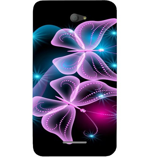 Casotec Butterflies Neon Light Design Hard Back Case Cover for Sony Xperia E4