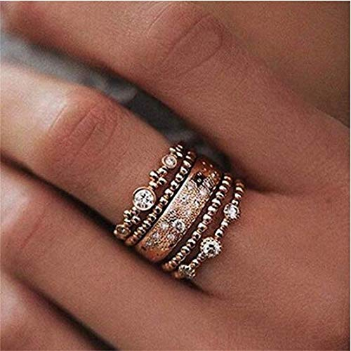Yolandabecool 5PCS set anelli per donne Stack Plain above Knuckle Band Crystal Rose oro placcato dito anelli no.10, Rose Gold 10, A