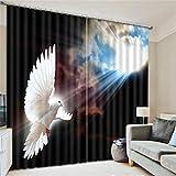 GUOW 3D Fenster Gardine Hitzeisolierung Polyester Druck hoch Dekoration Schlafzimmer Wohnzimmer Europa Taube, g