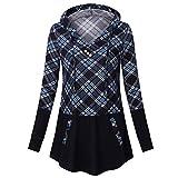 VEMOW Herbst Winter Elegante Damen Frauen Langarm Hoodies mit Knopf Gedruckt Lässig Täglichen Sport Outdoors Hoodies Herbst Sweatshirt(X3-b-Blau, EU-44/CN-XL)
