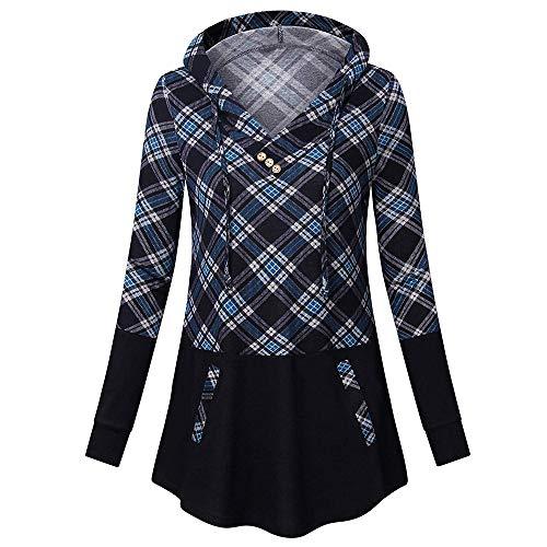 iHENGH Damen Frühling Sommer Top Bluse Bequem Lässig Mode Frauen Blusen Langarm Streifen Taschen Mit Kapuze Pullover Sweatshirt Bluse Tops