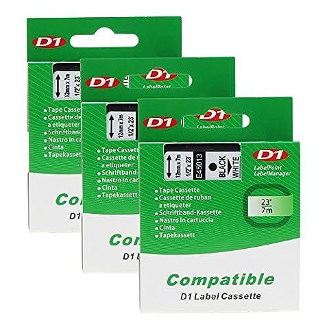 3 x D1 45013 S0720530 Noir sur Blanc Ruban Cassette Compatible pour Dymo LM 160 210D 260P 360D 420P 450D 500TS Wireless PnP, LP 100 150 200 250 300 350, LW 400 Duo 450 DUO, 12mm x 7m