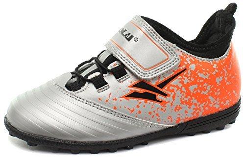 Gola Jungen Stimson Velcro Fußballschuhe, Silber (Silver/Black/Orange), 26 EU