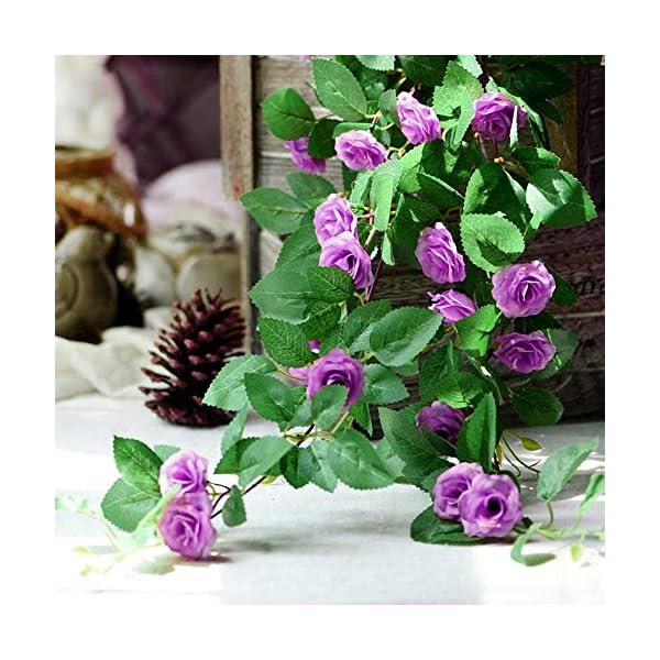 Mila-Amaz 2Pcs Guirnalda de Rosas Artificiales de Seda, Flores Artificiales con Hojas Verdes Enredadera de Rosas para…